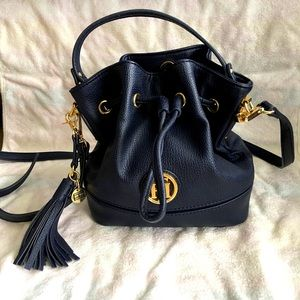 Tommy Hilfiger Navy Mini Faux Leather Bucket Bag